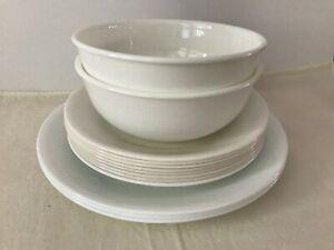 Vtg-Corelle-Vitrelle-Varying-Shades-of-White-Bowls-Bread-amp-Lunch-Plates-13-PCs