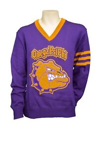 Omega Psi Phi Old School Vneck Sweater With Dog Chenille Ebay