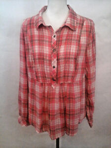 Torrid-Womens-Size-1-100-Cotton-Red-Cream-Striped-Plaid-Roll-Sleeve-Blouse-Top