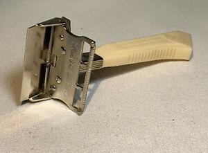 1950s Era Gem Featherweight Single Edge Razor, White Handle