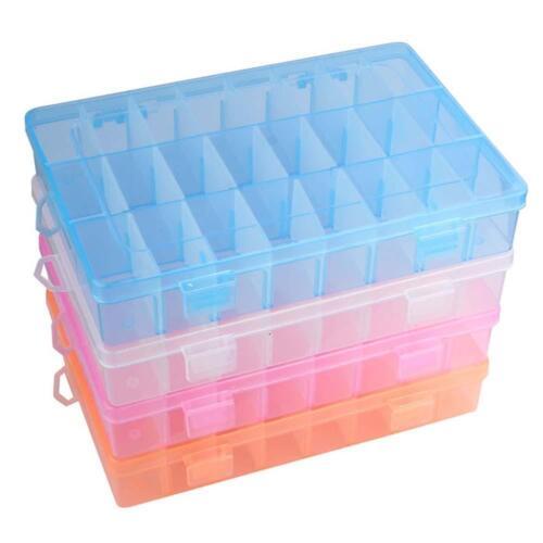 New Adjustable Plastic 24 Compartment Storage Box Earring Jewelry Bin Case GA