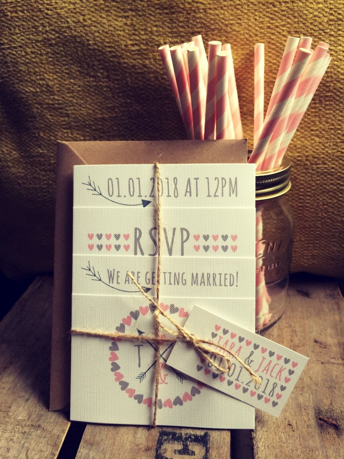 Personalised Wedding Invitations Handmade Rustic Photo  Set + Free Envelopes