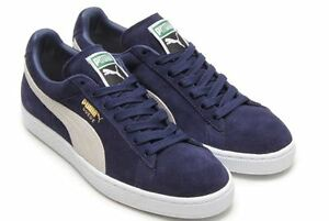 57bffa51c40337 Details about Puma Suede Classic + Navy White Men Fashion Sneakers  356568-51 Sz8.5 L