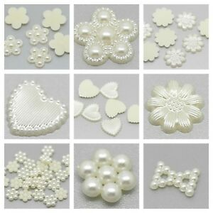 Ivory-Pearl-Effect-Embellishments-for-Wedding-Card-Making-Craft-CHOICE-OF-STYLES