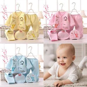 c4e123ece 5Pcs set Bulk Cotton Warm Newborn Baby Boy Girl Clothes Set Outfits ...