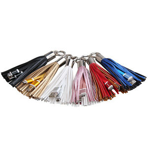 Tassels-Keyring-Bag-Charm-USB-Data-Charger-Cable-for-Samsung-Sony-HTC-Moto-LG