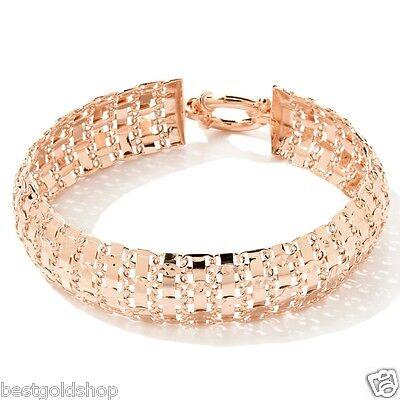 Technibond Diamond Cut Circle Rolo Bracelet 14K Rose Pink Gold Clad Silver 925