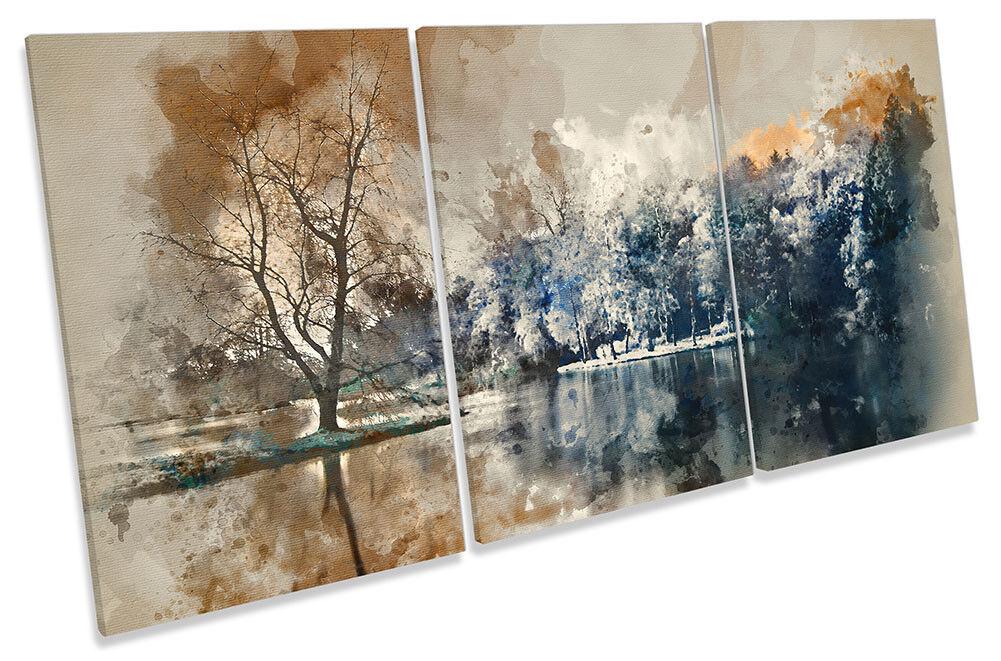 Marronee astratto paesaggio incorniciato tela tela tela stampa Treble Wall Art f3a823