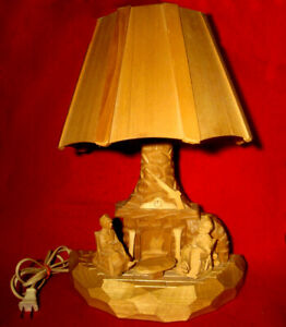 VINTAGE-FOLK-ART-WOOD-CARVED-LAMP-G-DUVAL-QUEBEC-CANADA