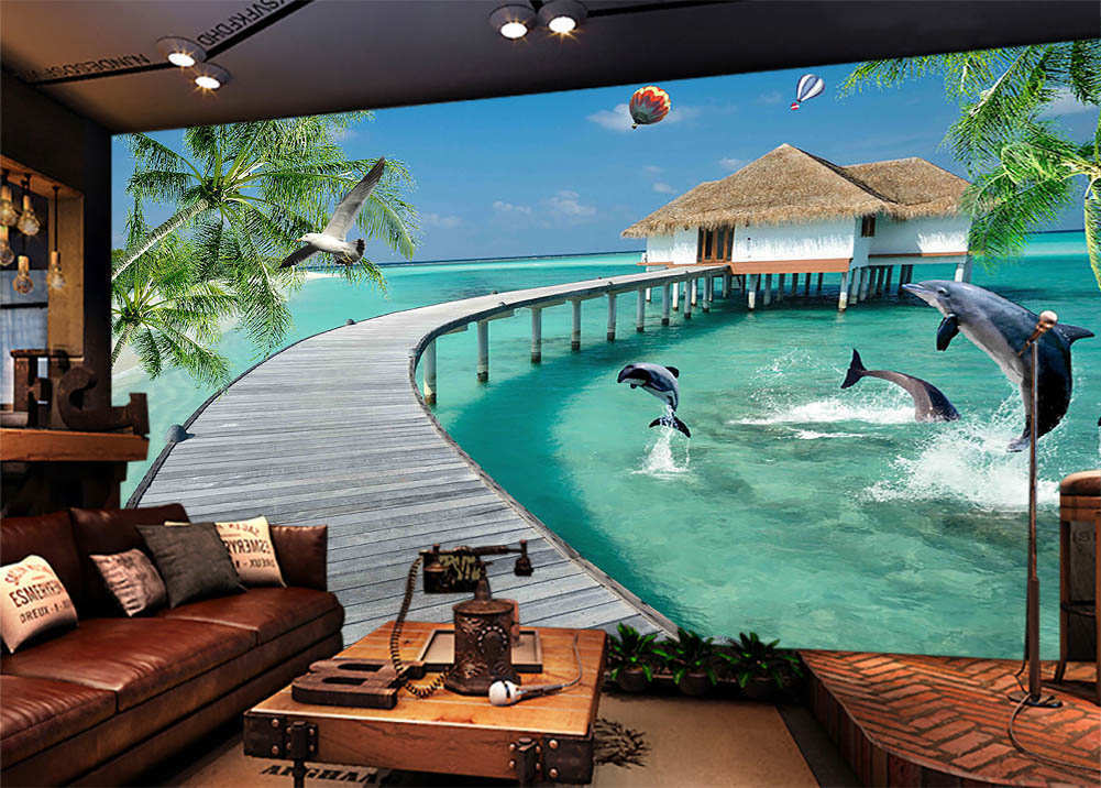 Leaping Dolphins 3D Full Wall Mural Photo Wallpaper Printing Home Kids Decor