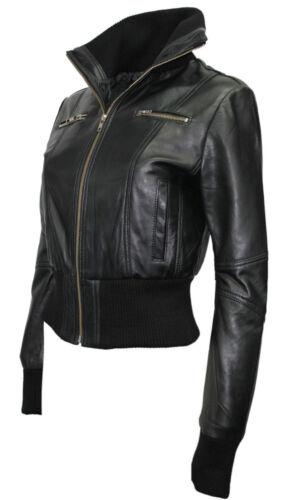 nera in donna lusso pelle vera design elegante di nappa da Bomber qn1fFO