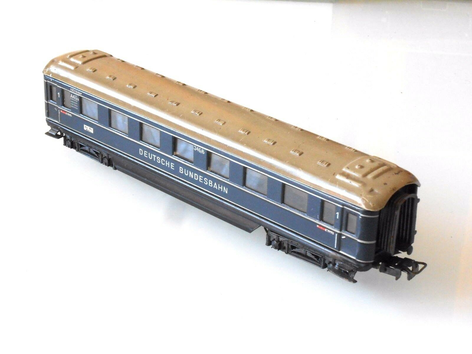 Märklin H0 DB Carroza 346-6 A4ü 1.Kl Blu Scuro Vagone Lamiera 4014 Vintage