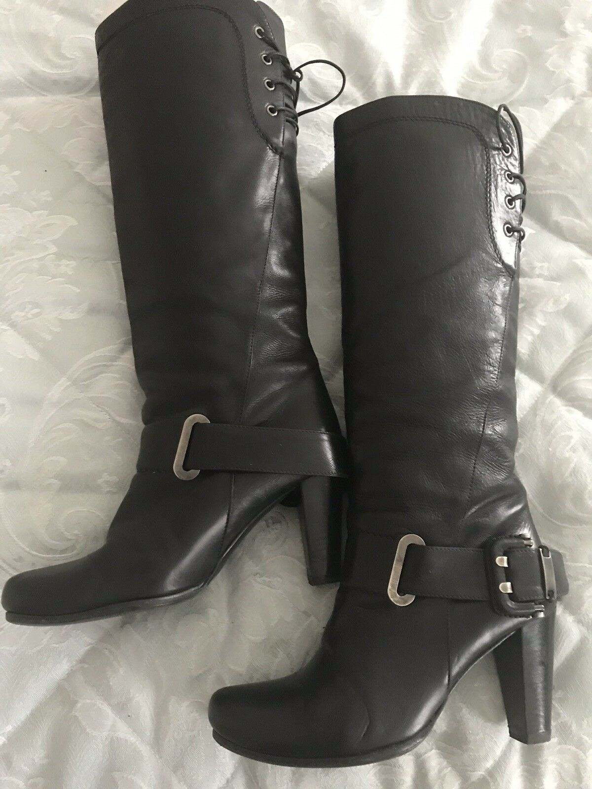 DANIEL Black Leather Boots With Buckle UK3 EU36