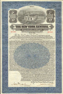 1921-New-York-Central-Railroad-gt-1-000-bond-certificate-stock-share