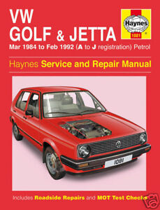 Haynes-Manuel-Volkswagen-Golf-Mk2-VW-Jetta-1984-1992-1081-Neuf
