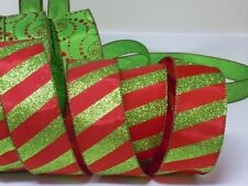 5yds Christmas Sparkle Red Green Candy Canes Wired Ribbon Holidays Wreath Bow