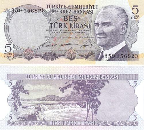 P-179 Turkey 5 Lira Prefix B 1968 2 Pcs PAIR 3 Signature UNC Consecutive