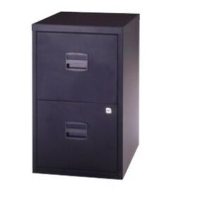2-DRAWER-BISLEY-STEEL-FILING-CABINET-BLACK-A4-NEW-FREE-24h-COURIER