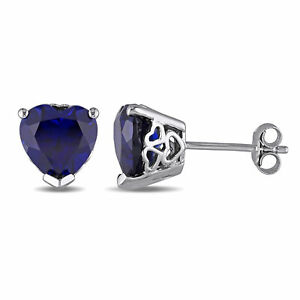 Amour Sterling Silver Created Blue Sapphire Heart Stud Earrings