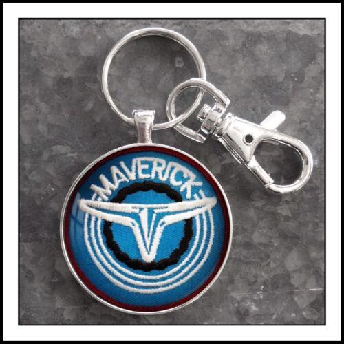 Vintage Ford Maverick Emblem Patch Photo Keychain