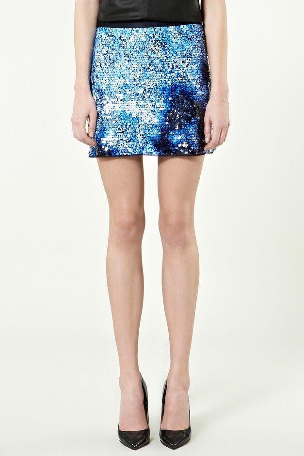 Avoir Un Esprit De Recherche Warehouse Spotlight Blue Sequin Mini Parti Jupe Taille 8 Bnwt Vif Et Grand Dans Le Style