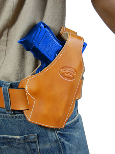New Barsony Saddle Tan Leather Pancake Gun Holster for Ruger Compact 9mm 40 45