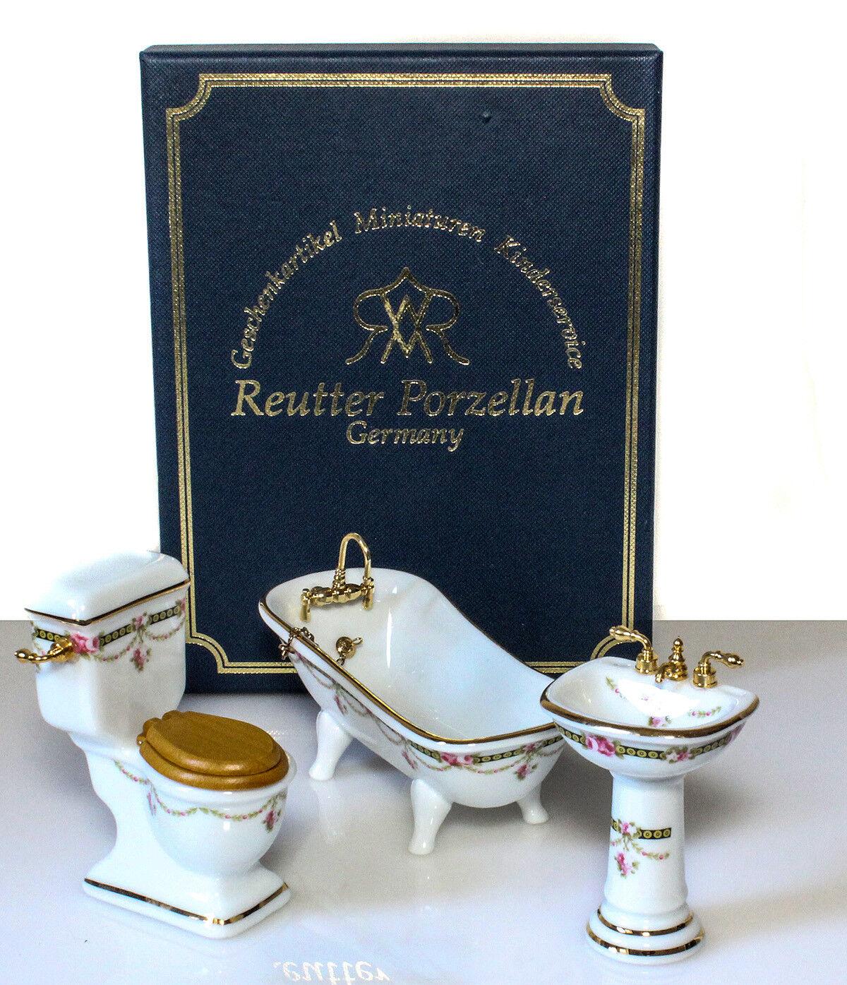 3 pzas. victoria-Reutter porcelana baño miniaturas casa de muñecas