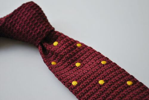 Maroon Burgundy Gold Yellow Polka Dot Frederick Thomas Knitted Silk Mens Tie
