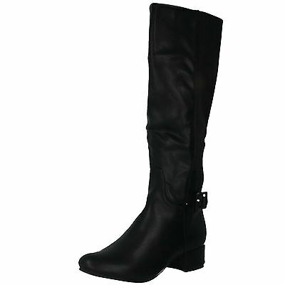 SALE  LADIES /'F5R0042/' SMART BLACK ZIP UP LONG BOOTS WITH ELASTICATED PANEL