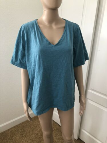 Eileen Fisher Turquoise Organic Cotton  T -Shirt S