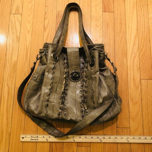 Greta Croc Embossed Leather Bag