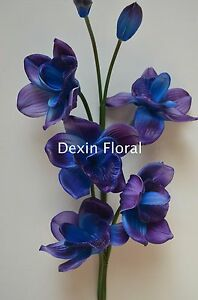 Real Touch Flowers Blue Purple Orchid For Wedding Bouquets