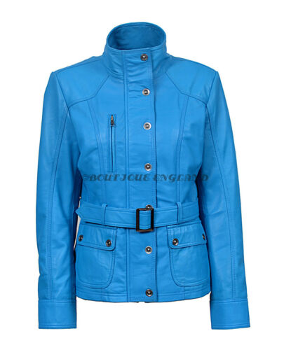New Ladies 1160 Blue Slim Fit Soft Leather Jacket Casual Military Collar Rock