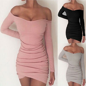 b379177d0e52 S HME Women Off The Shoulder Dress One Piece Long Sleeves Tight ...