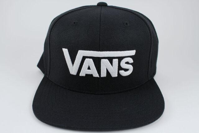 91a74a98 VANS DROP V II SNAPBACK HAT ADJUSTABLE CAP BLACK/WHITE BIG VANS LOGO ADULT  NEW