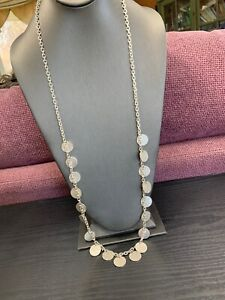 Vintage Boho Bohemian Silver Tone  Long Textured Coin Necklace 36""