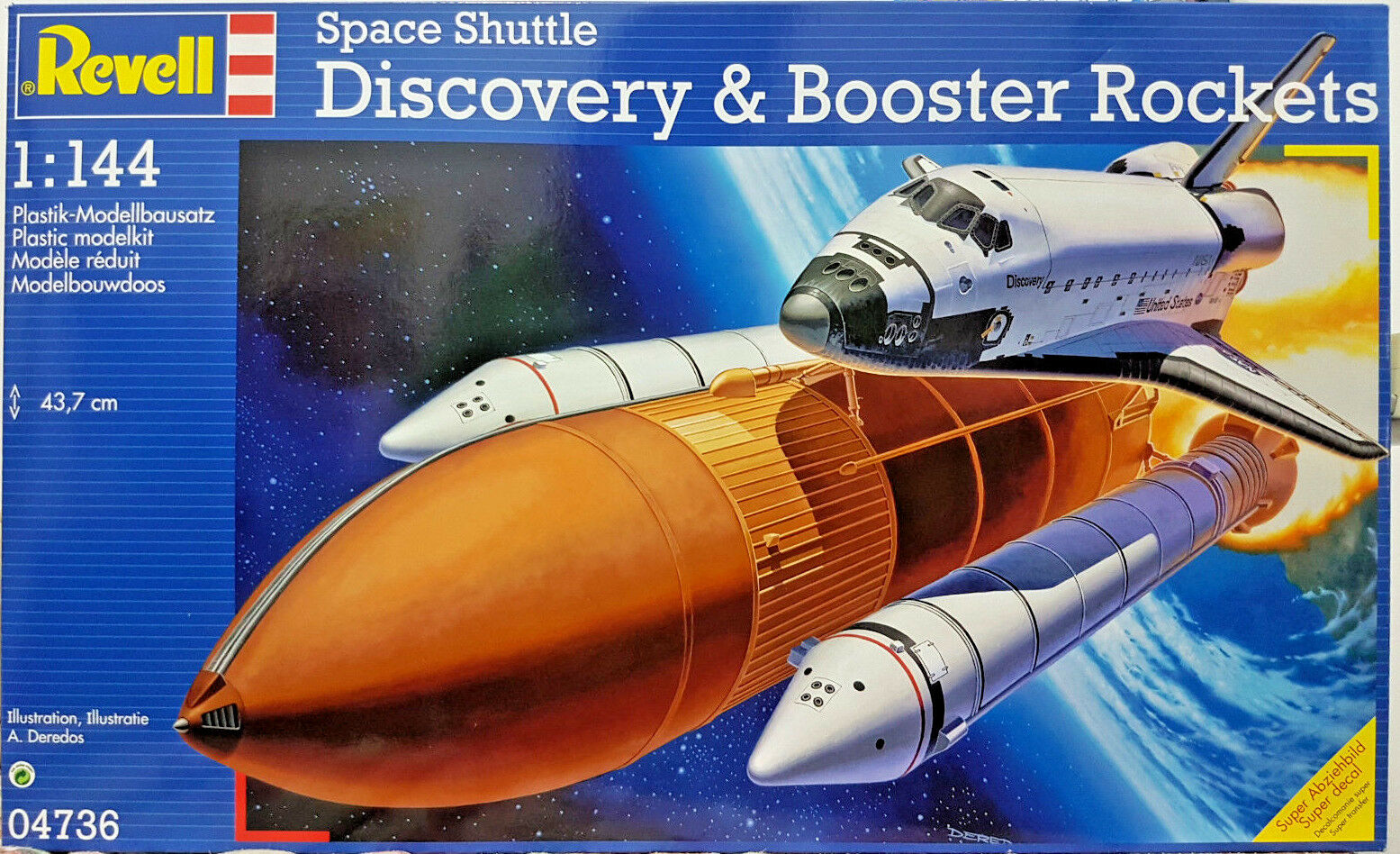 Rockwell Space Shuttle Discovery & Booster Rockets - Revell Kit 1 144 - 04736