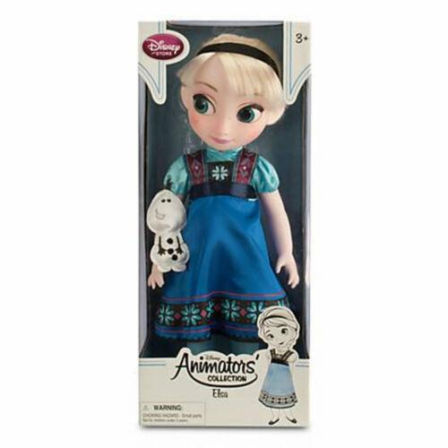 "Disney Store Animators Collection Elsa Doll w// Plush Olaf 16/"" Frozen Toddler NEW"
