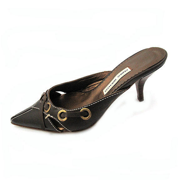 Pedro Miralles Two Two Two Inch Self-Covered Heel Leather Mules, Pointed Toe, Size 11 88c9a3
