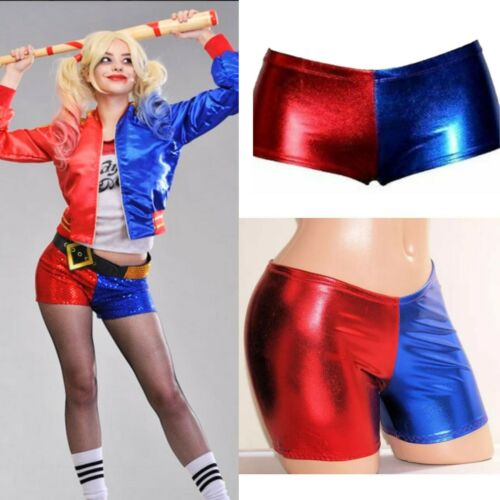 Ladies Harley Quinn Suicide Squad Harlequin Metallic Shinny Hot Shorts UK 8-22