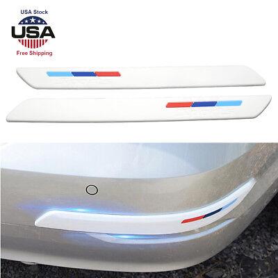 2PCS Rubber Front+Rear Bumper Scratch Protector Strip Corner Guard Sticker Black
