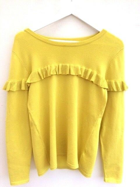 Fine-Knit Yellow Sweater 70s Yellow Blogger Jumper M 10 12