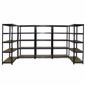 5x-0-9M-Black-Steel-Warehouse-Racking-Rack-Storage-Garage-Shelving-Shelf-Shelves