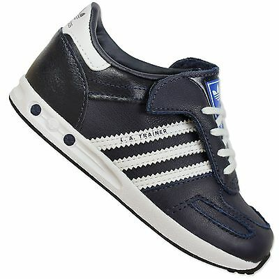 Adidas Originals La Trainer Kids Sneaker Shoes Legink Blue White Leather | eBay