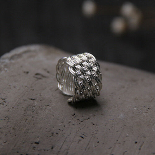 Details about  /Men/'s Women/'s Solid 925 Sterling Thai Silver Ring Wide Braided Open Size 6 7 8 9