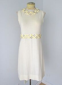 1e1d003cefc1 NWT Banana Republic Cream Cotton Wool Sweater Dress Gold Rings ...
