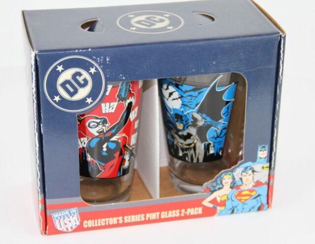 Set of 2 Collectible BATMAN & HARLEY QUINN Pint Glasses 16oz 473ml New