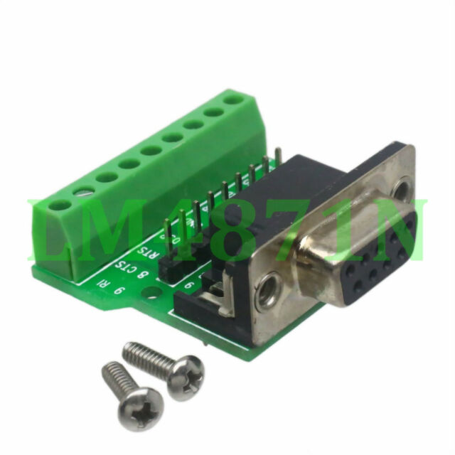 DB9 D-SUB VGA female jack 9pin port Terminal Breakout PCB RS232 row without nut