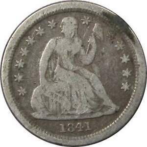 1841-O-Seated-Liberty-Dime-VG-Very-Good-90-Silver-10c-US-Type-Coin-Collectible