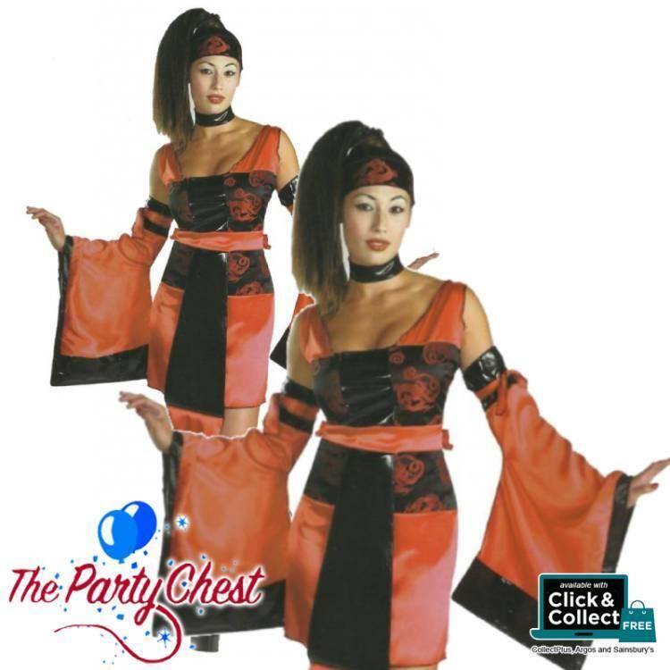 LADIES SEXY SAMURAI COSTUME Oriental Geisha Womens Samurai Fancy Dress Outift